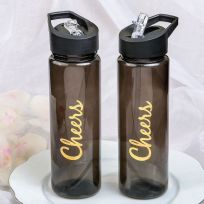 Cheers Themed Black Translucent Water Bottle